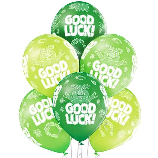 "Balony ""Good Luck"",pastel zielone, BELBAL, 12"", 6 szt"