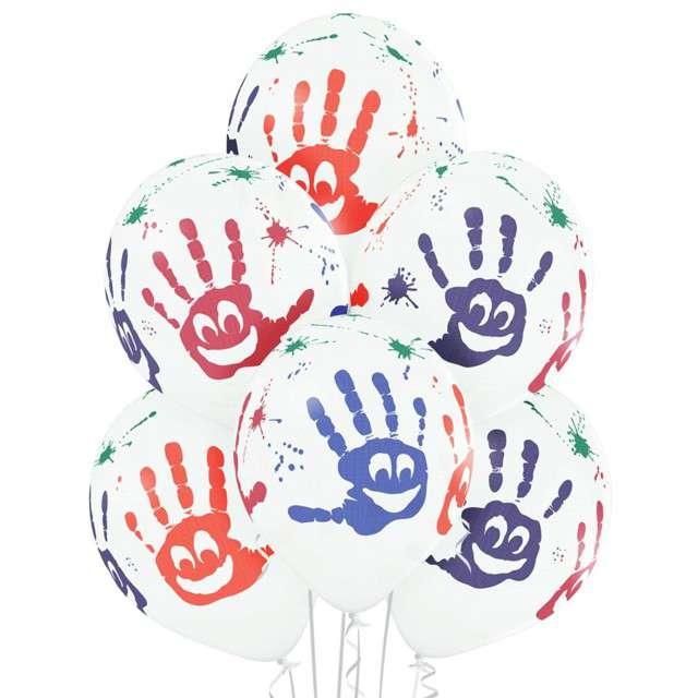 """Balony """"Rączki"""", pastel białe, BELBAL, 12"""", 6 szt"""