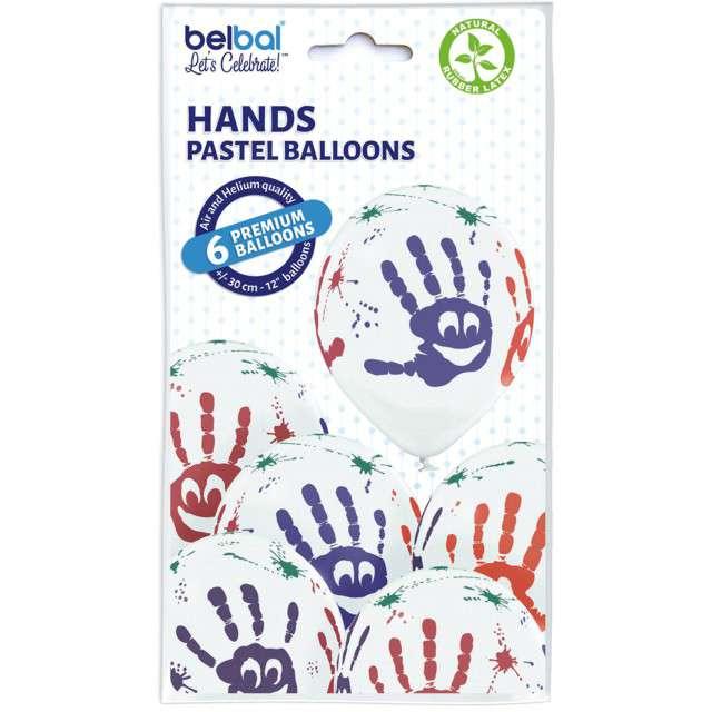 Balony Rączki pastel białe BELBAL 12 6 szt