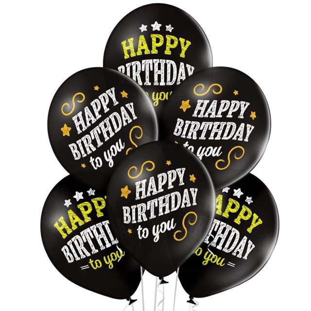 "Balony ""Happy Birthday "", pastel czarne, BELBAL, 12"", 6 szt"