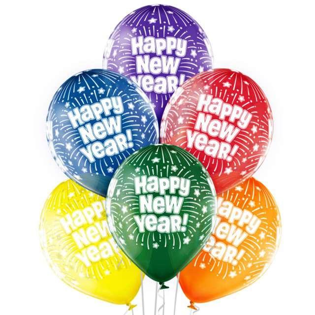"Balony ""Happy New Year"", pastel mix, BELBAL, 12"", 6 szt"