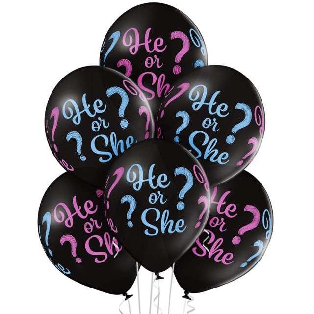 "Balony ""He or She"", pastel czarny, BELBAL, 12"", 6 szt"