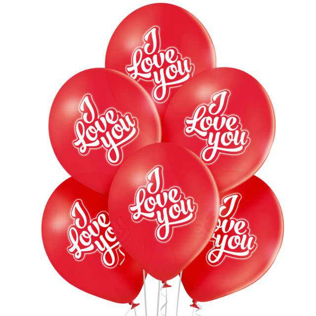 "Balony ""Kocham Cię"", pastel biały, BELBAL, 12"", 6 szt"