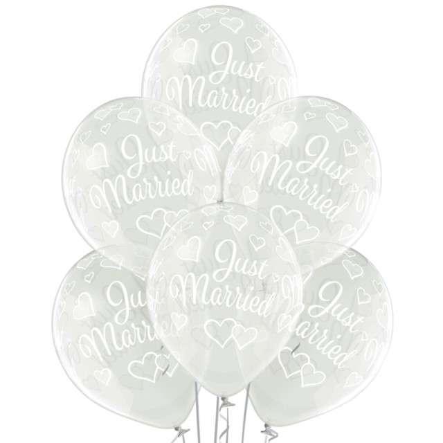 """Balony """"Just Married"""", przezroczyste, BELBAL, 12"""", 6 szt"""