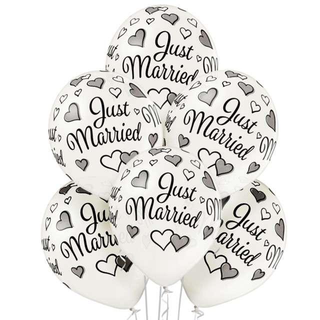 "Balony ""Just Married"", białe BELBAL, 12"", 6 szt"