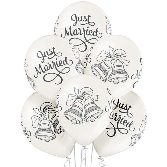 """Balony """"Just Married Bells"""", białe BELBAL, 12"""", 6 szt"""