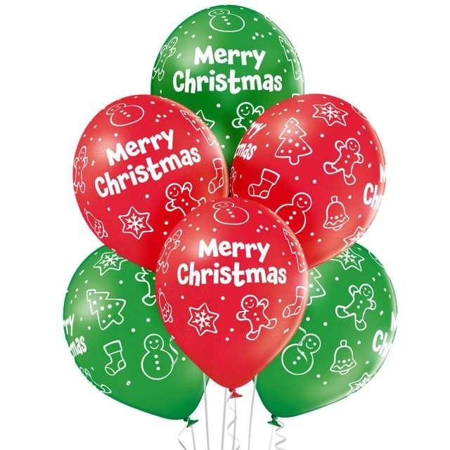 """Balony """"Merry Chistmas"""", pastel mix, BELBAL, 12"""", 6 szt"""