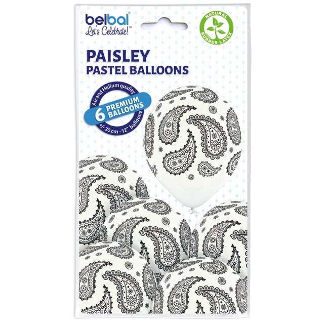 "Balony ""Paisley"", pastel biały, BELBAL, 12"", 6 szt"
