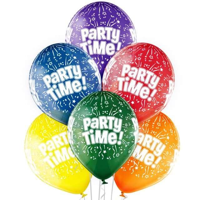 "Balony ""Party Time"", pastel mix, BELBAL, 12"", 6 szt"