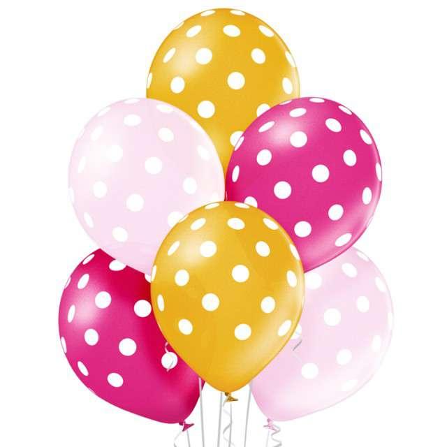 """Balony """"Kropki"""", pastel mix, BELBAL, 12"""", 6 szt"""