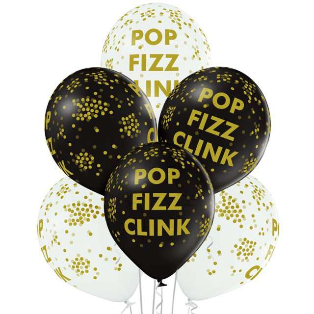 "Balony ""Pop Fizz Clink"", pastel mix, BELBAL, 12"", 6 szt"