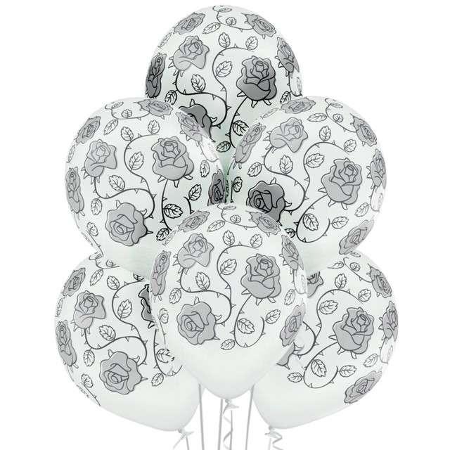 """Balony """"Róże"""", białe BELBAL, 12"""", 6 szt"""