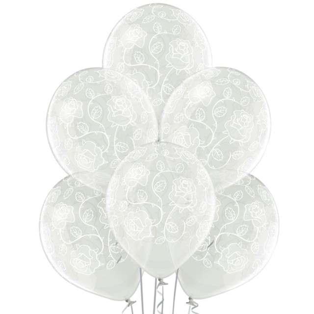 """Balony """"Róże"""", przezroczyste, BELBAL, 12"""", 6 szt"""
