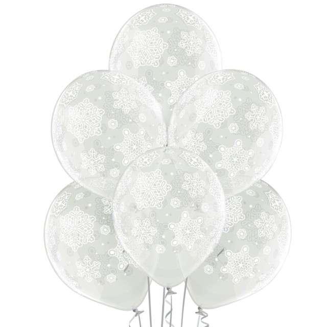 """Balony """"Płatki śniegu"""", przezroczyste, BELBAL, 12"""", 6 szt"""
