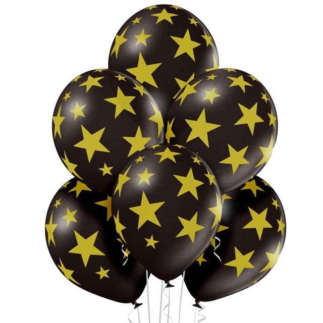 """Balony """"Gwiazdki"""", pastel czarny, BELBAL, 12"""", 6 szt"""