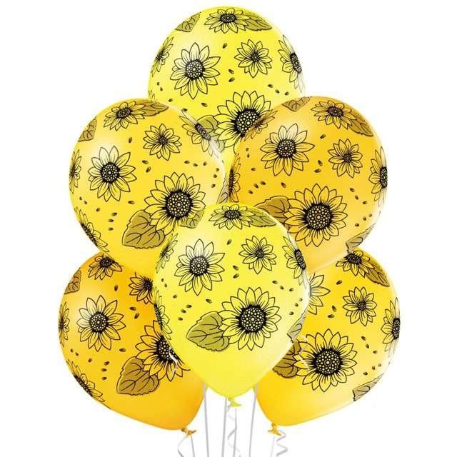 """Balony """"Słoneczniki"""", pastel żółty, BELBAL, 12"""", 6 szt"""