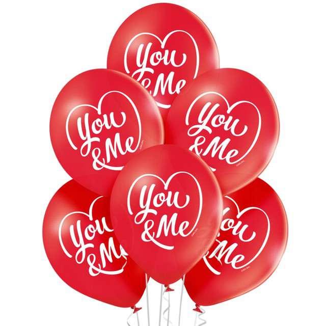 """Balony """"Ty i Ja"""", pastel czerwony, BELBAL, 12"""", 6 szt"""