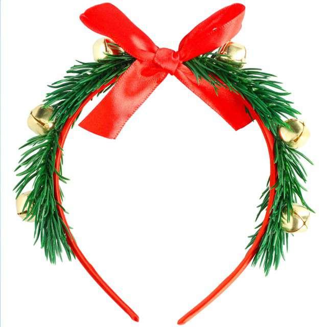 """Opaska party """"Świąteczna z kokardą i dzwonkami"""", Folat"""