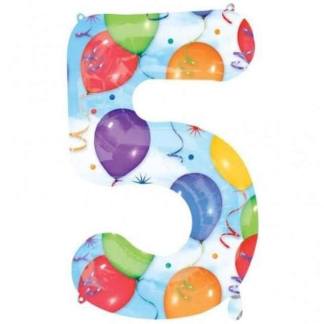 "Balon foliowy cyfra 5, 34"", baloniki"