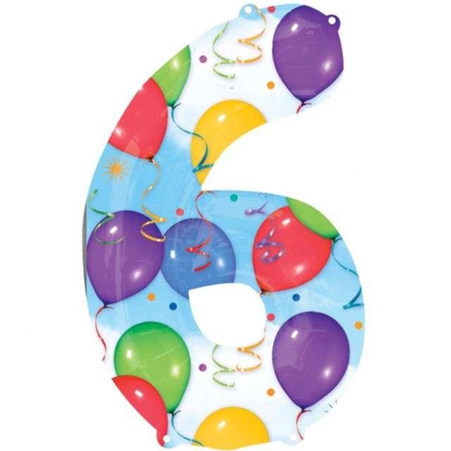 "Balon foliowy cyfra 6, 34"", baloniki"