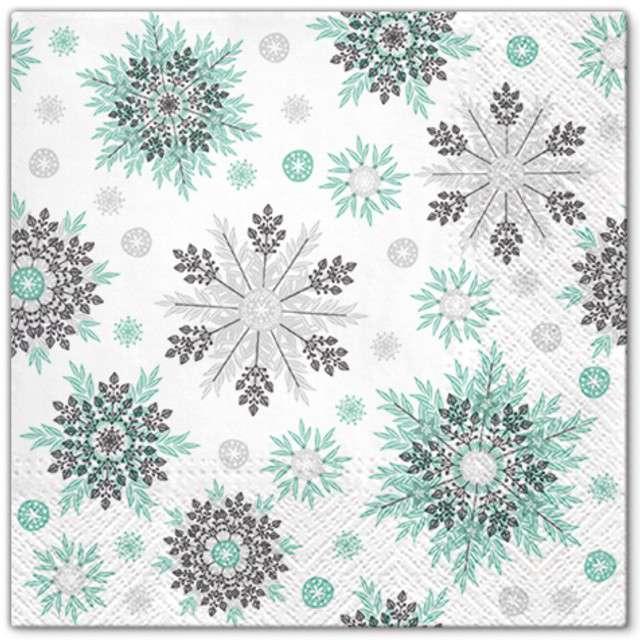 """Serwetki """"Miętowe śnieżynki"""", PAW, 33 cm, 20 szt"""