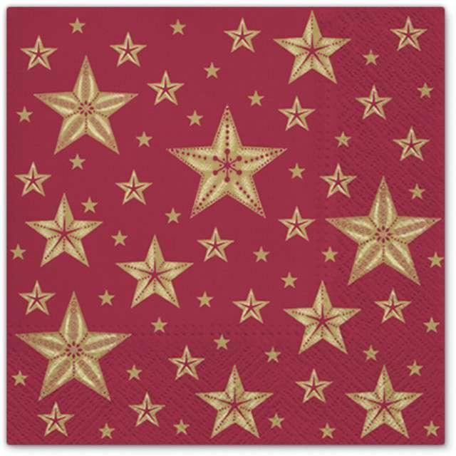 """Serwetki """"Piękne gwiazdy"""", czerwony, PAW, 33 cm, 20 szt"""