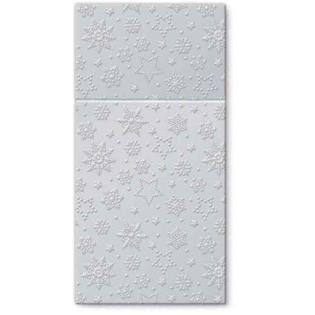 """Kieszonka na sztućce """"Zimowe płatki"""", srebrna, PAW, 40 cm, 16 szt"""
