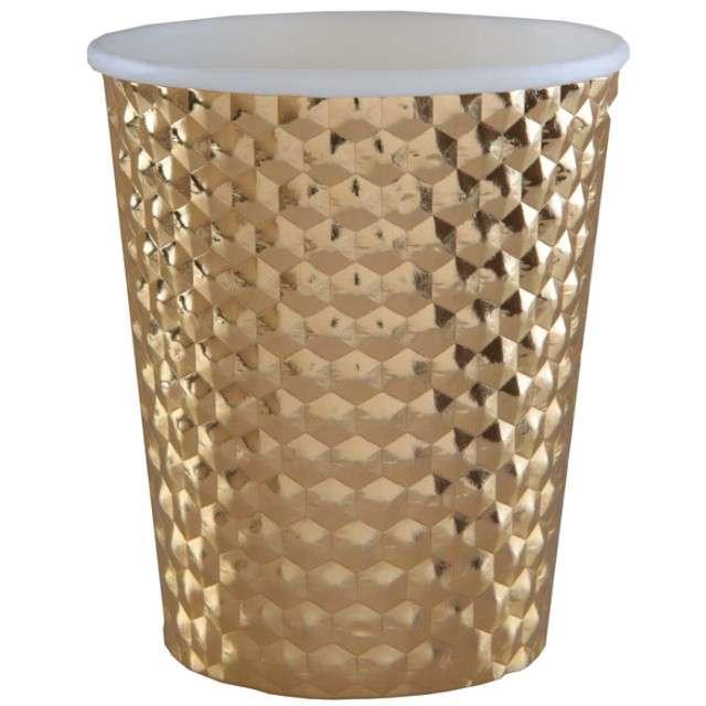 """Kubeczki papierowe """"Diament"""", złote metaliczne, SANTEX, 250 ml, 10 szt"""