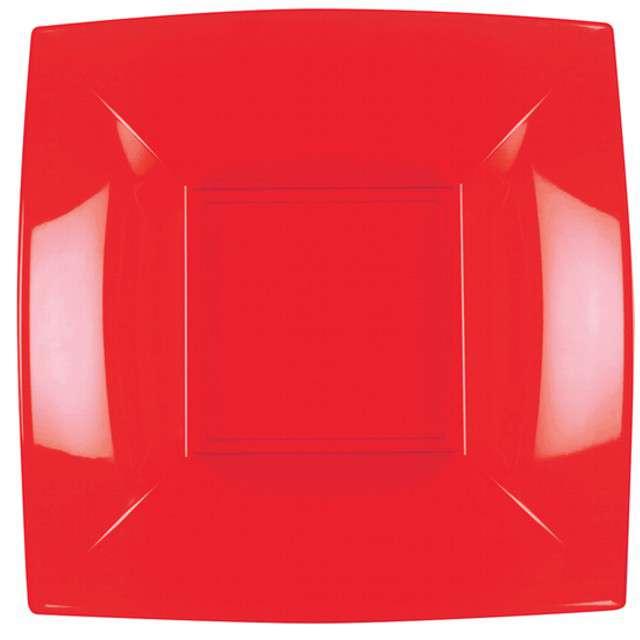 """Talerzyki plastikowe """"Deluxe - Kwadratowe"""", czerwony, GoldPlast, 18 cm, 8 szt"""
