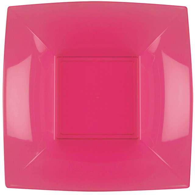 "Talerzyki plastikowe ""Deluxe - Kwadratowe"", fuksja, GoldPlast, 18 cm, 8 szt"