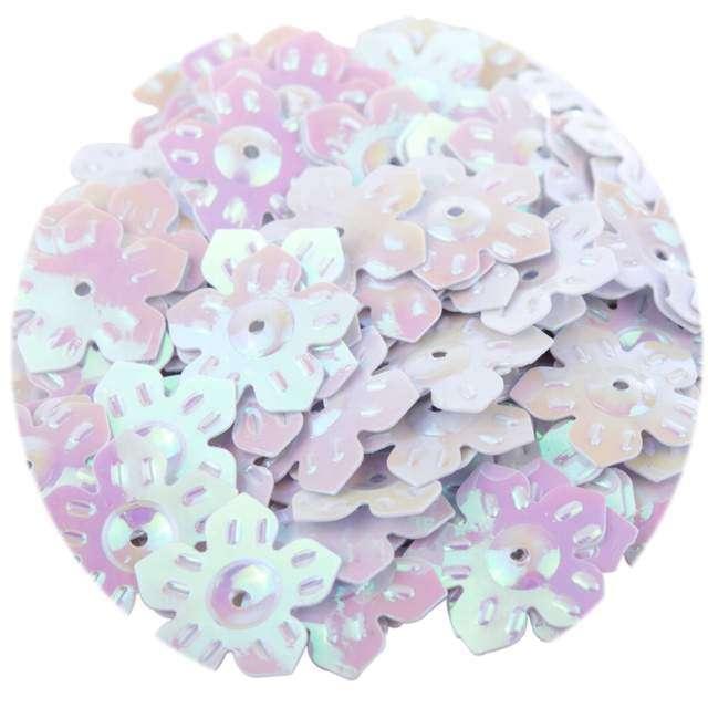 """Cekiny """"Kwiatki Pastel"""", białe opalizujące, 12 mm, 6 g, Czakos"""