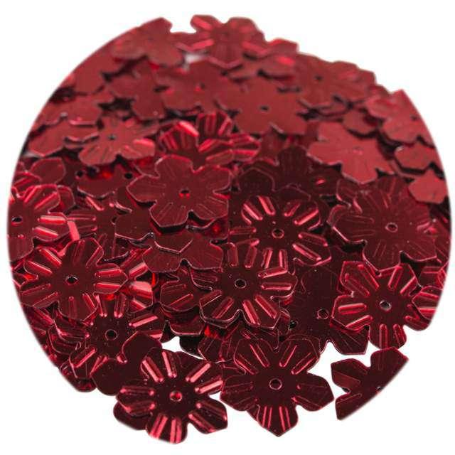 """Cekiny """"Kwiatki Metalic"""", czerwone, 12 mm, 6 g, Czakos"""