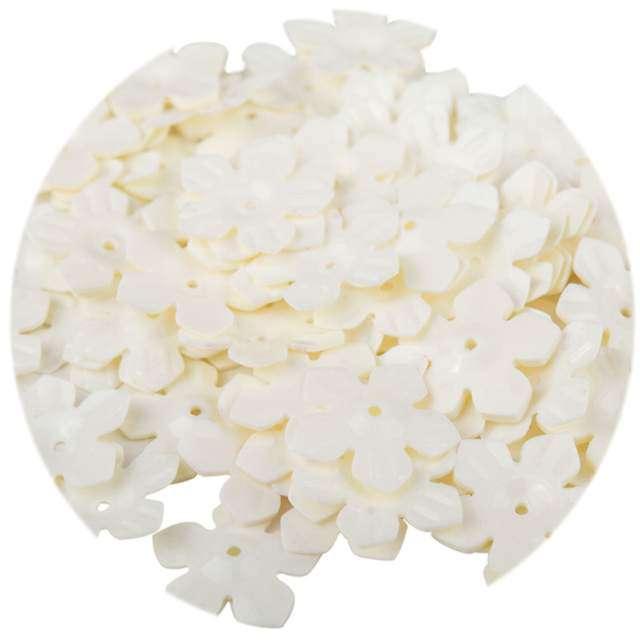 """Cekiny """"Kwiatki Pastel"""", ecru, 12 mm, 6 g, Czakos"""