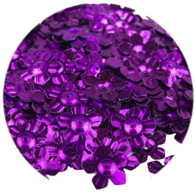 """Cekiny """"Kwiatki Metalic"""", fioletowe, 12 mm, 6 g, Czakos"""