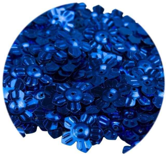 """Cekiny """"Kwiatki Metalic"""", granatowe, 12 mm, 6 g, Czakos"""