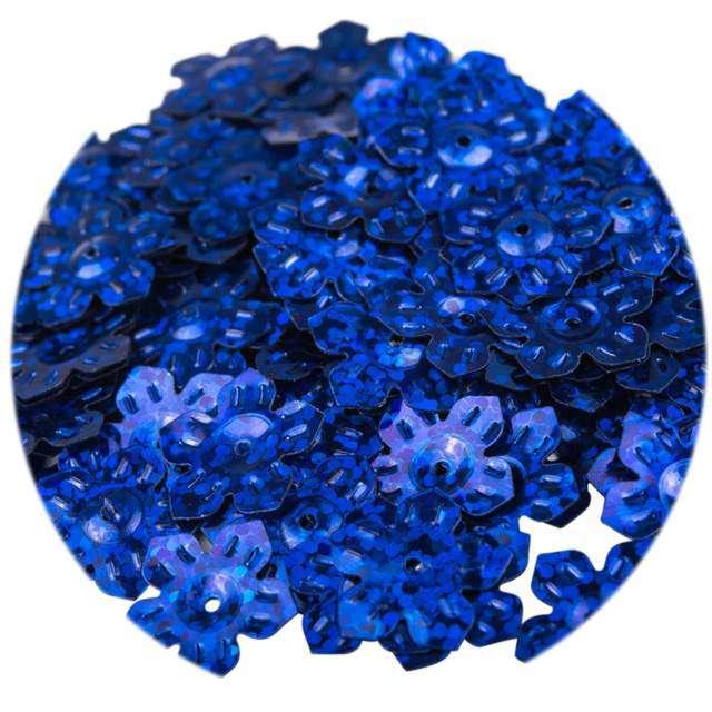 """Cekiny """"Kwiatki Holo"""", granatowe, 12 mm, 6 g, Czakos"""