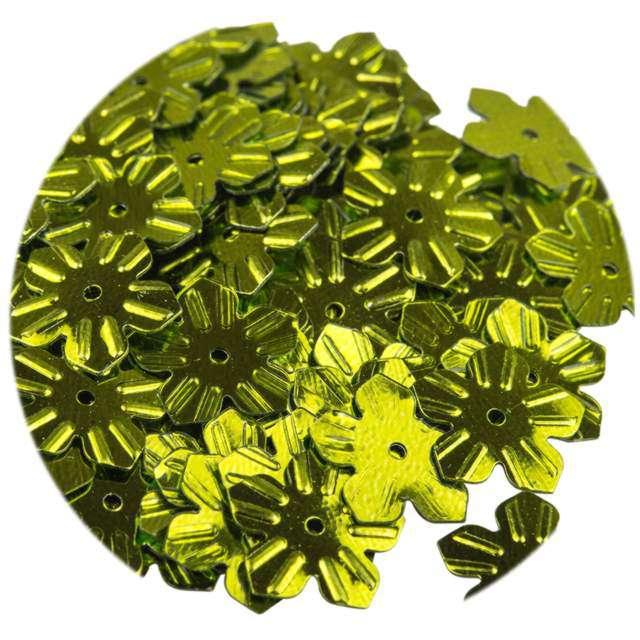 """Cekiny """"Kwiatki Metalic"""", zielone oliwkowe, 12 mm, 6 g, Czakos"""