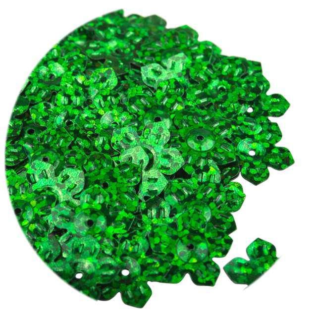 """Cekiny """"Kwiatki Holo"""", zielone, 12 mm, 6 g, Czakos"""