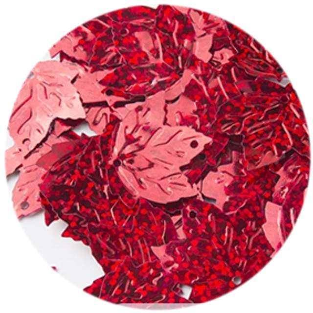 """Cekiny """"Liść Klonu Holo"""", czerwone, 22 mm, 40 szt, Czakos"""