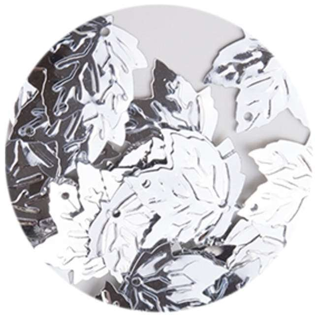 "Cekiny ""Liść Klonu Metalic"", srebrne, 22 mm, 40 szt, Czakos"