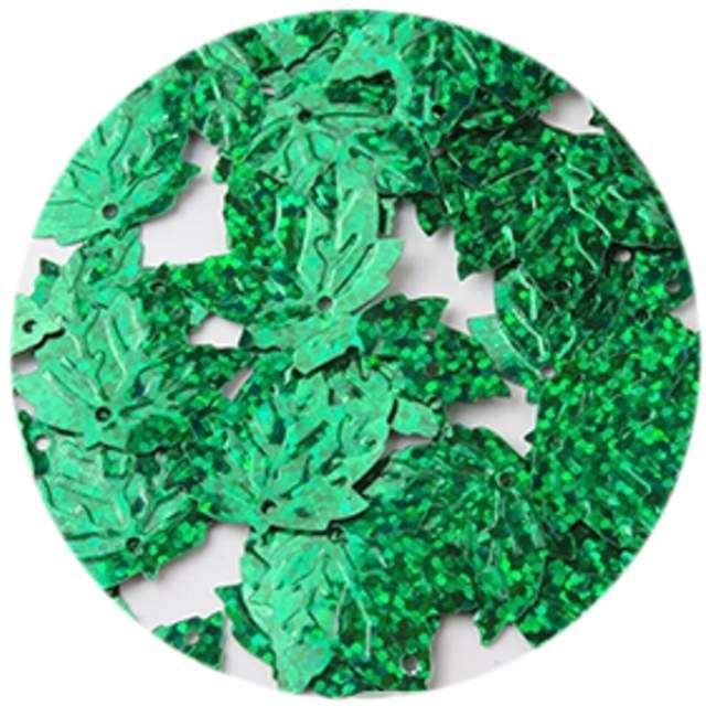 "Cekiny ""Liść Klonu Holo"", zielone, 22 mm, 40 szt, Czakos"