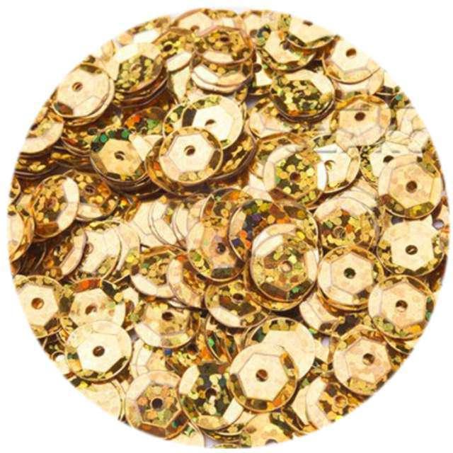 """Cekiny """"Classic Holo"""", złote, 6 mm, 12 g, Czakos"""
