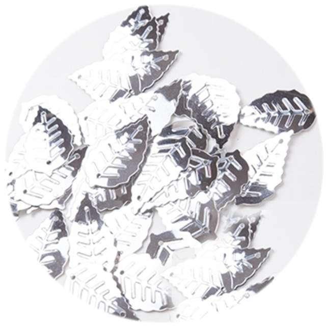 """Cekiny """"Liść Podłużny Metalic"""", srebrne, 24 mm, 50 szt, Czakos"""