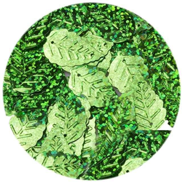 """Cekiny """"Liść Podłużny Holo"""", zielone, 24 mm, 50 szt, Czakos"""