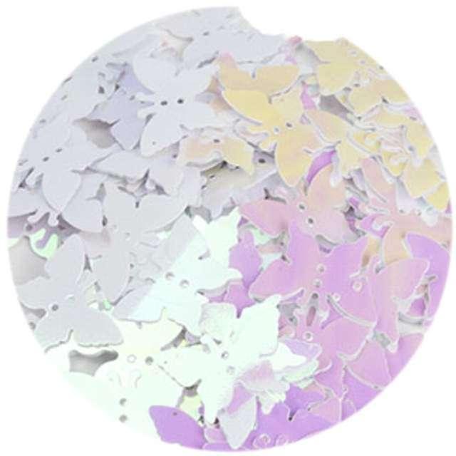 """Cekiny """"Motylek Pastel"""", białe opalizujące, 12x16 mm, 100 szt, Czakos"""