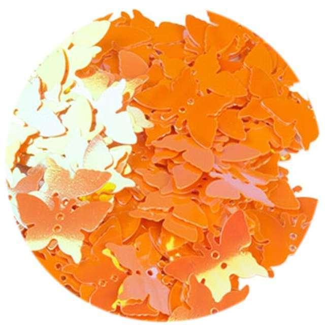 """Cekiny """"Motylek Pastel"""", pomarańczowe, 12x16 mm, 100 szt, Czakos"""