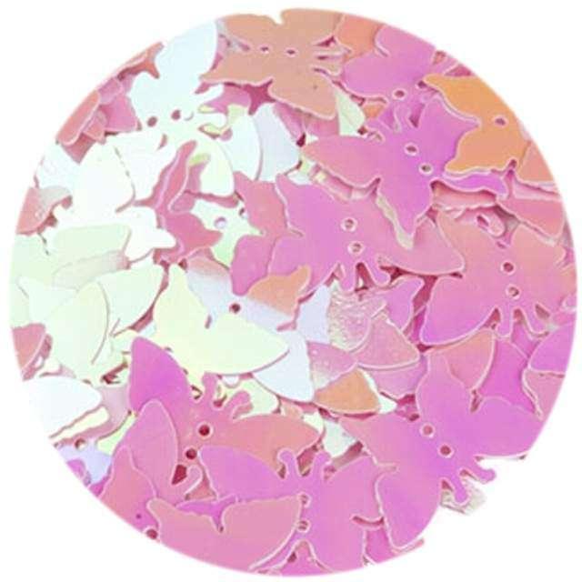 """Cekiny """"Motylek Pastel"""", różowe, 12x16 mm, 100 szt, Czakos"""