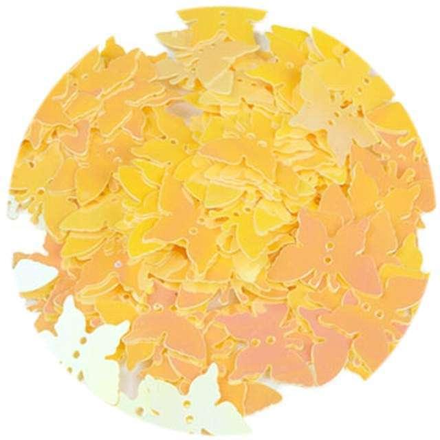 """Cekiny """"Motylek Pastel"""", żółte, 12x16 mm, 100 szt, Czakos"""