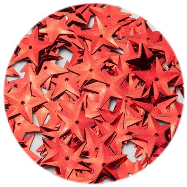"""Cekiny """"Gwiazdki XL Metalic"""", czerwone, 15 mm, 120 szt, Czakos"""