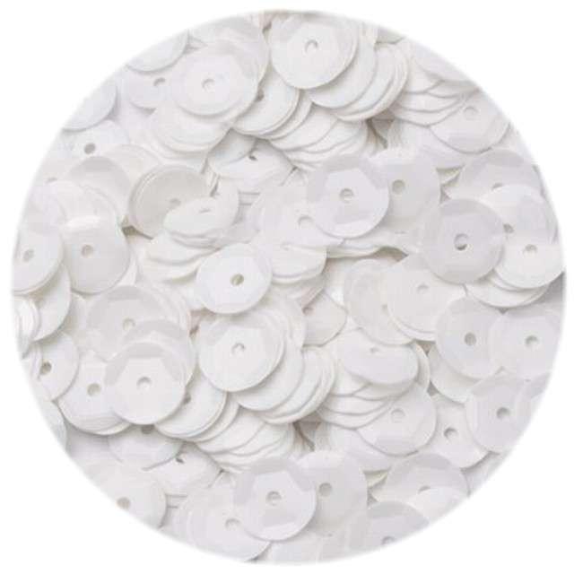 """Cekiny """"Classic Pastel"""", białe, 8 mm, 12 g, Czakos"""